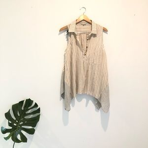 Hem & thread linen blend striped sleeveless top L